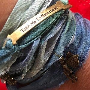 Sari Silk Rough Cut Wrap Bracelet Peter Pan Blue